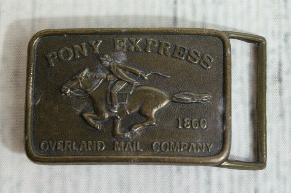 Horse Vintage Belt Buckle Pony Express Western Belt Buckle US Mail  Rider Cowboy