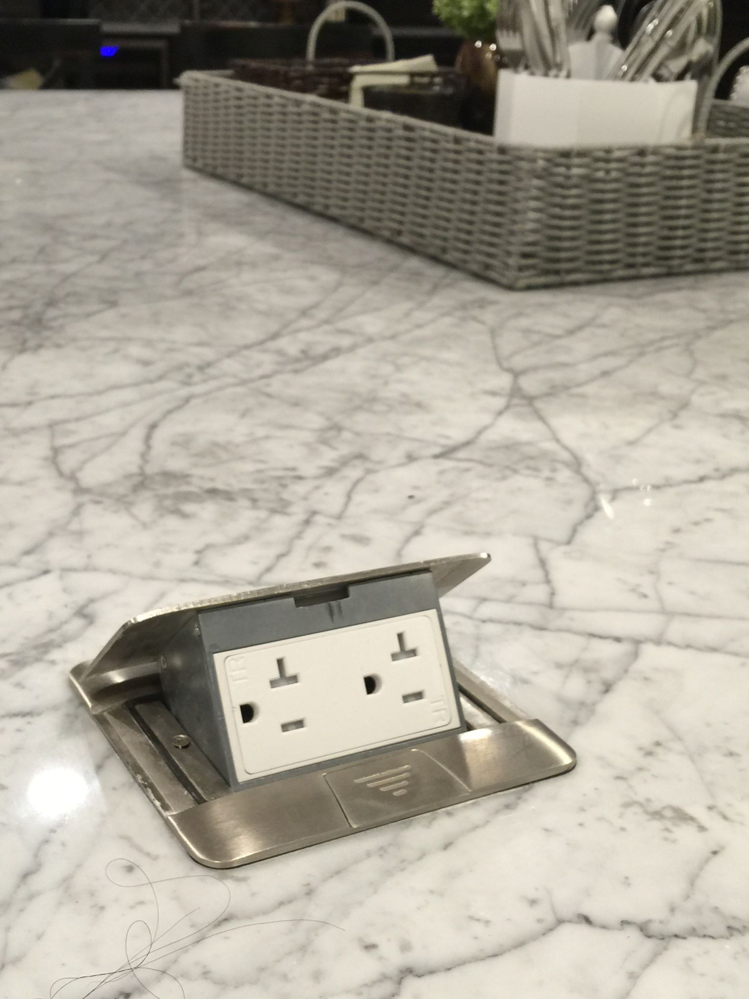 Pop up island electric outlets perfect for plug in griddle