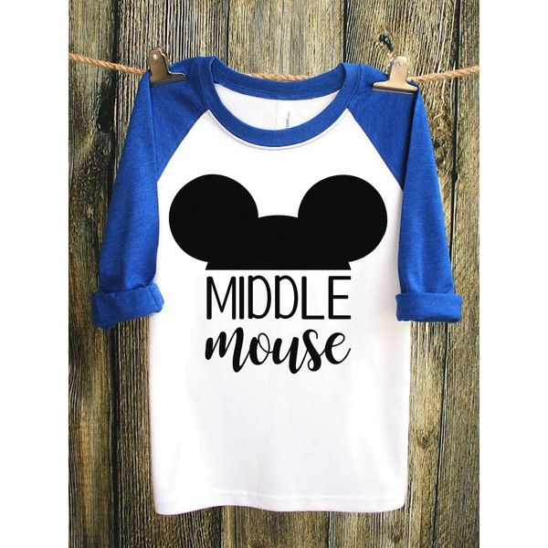 Middle Mouse Disney Shirts Disney Family Shirts Mickey Mouse Shirt... ($20) ❤ liked on Polyvore featuring tops, t-shirts, white, women's clothing, baseball t shirt, long sleeve tees, long sleeve t shirts, fitted t shirts and white t shirt