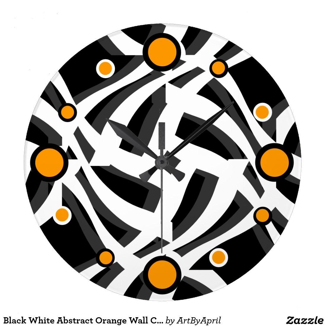 Black White Abstract Orange Wall Clock