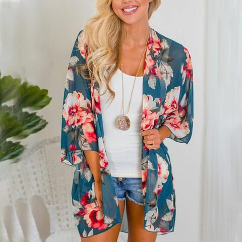 09275418ac Women Shirt Kimono Boho Cardigan Vintage Floral Print Blouse Loose Shawl  Cape Knits Bohemian Coat Jacket Two Color