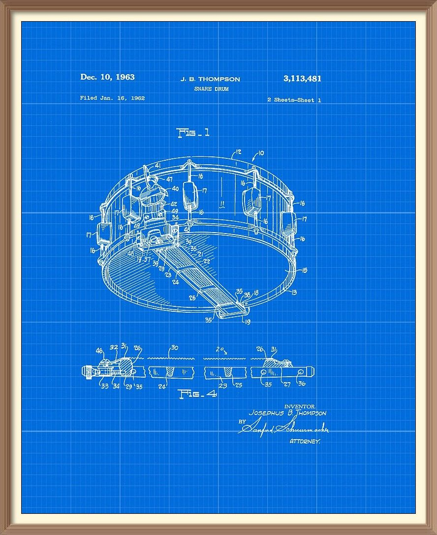 Vintage snare drum patent print 1963 set on a vintage blue vintage snare drum patent print 1963 set on a vintage blue blueprint paper background instant download vintage blueprint downloadable art by malvernweather Gallery