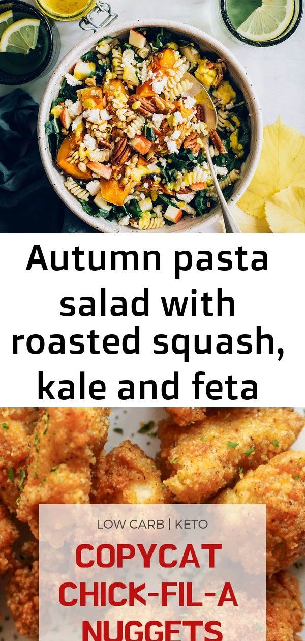 Autumn pasta salad with roasted squash, kale and feta cheese 12 #buffalochickenpastasalad Autumn Pasta Salad with Roasted Squash, Kale and Feta Cheese - Hello Veggie Easy and crisp copycat Chick-fil-A nuggets. Delicious keto chicken nuggets with only a few simple ingredients. #ketochickennuggets #lowcarbchickennuggets #healthychickennuggets #easylowcarb Buffalo Chicken Cauliflower- 15 Min Creamy Cheesy Instant Pot Recipe Pesto Chicken Meatballs | Lil' Luna #buffalochickenpastasalad
