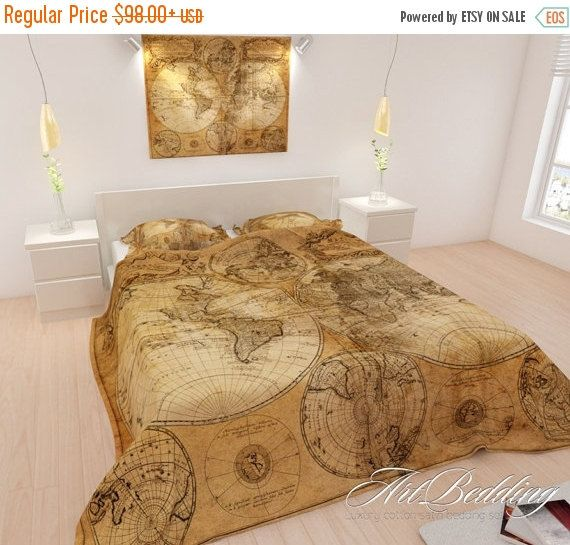 After christmas sale bedding old world map bedding by artbedding bedding old world map bedding vintage world duvet cover steampunk queen king full bedding set vintage map duvet cover set gumiabroncs Gallery