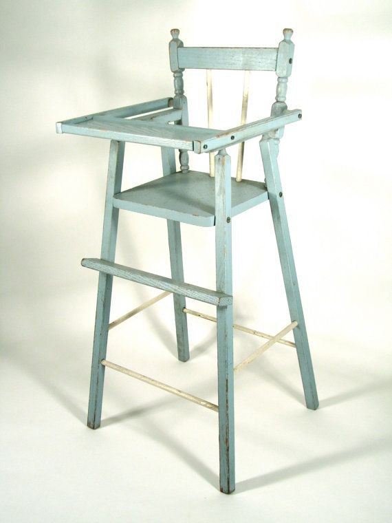 SALE ITEM Vintage Distressed Wood Doll High Chair in Blue Would be GREAT  for American Girl - ITEM Vintage Distressed Wood Doll High Chair In Blue Would Be GREAT