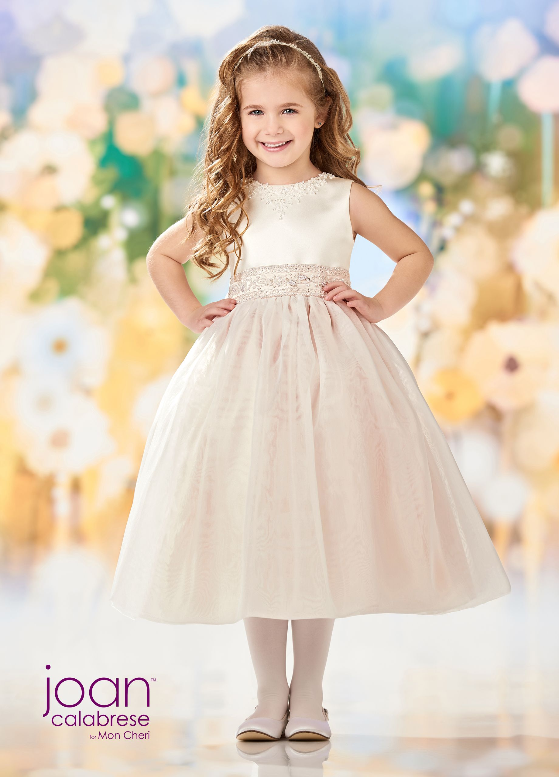 7ff6dc958 Joan Calabrese For Mon Cheri 218344 - Sleeveless satin and organza  tea-length full A-line dress with a hand-beaded jewel neckline, an  intricately beaded ...