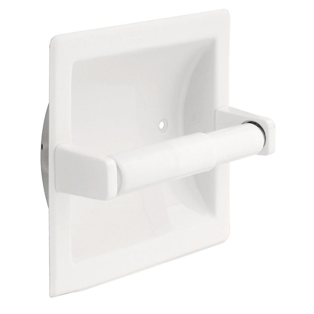Franklin Brass Futura Recessed Toilet Paper Holder In White D2497w Recessed Toilet Paper Holder Tissue Paper Holder Bathroom Hardware