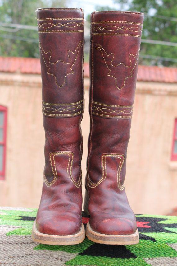 487830afa9a8 Vtg. leather tall Cow Girl Boots womens size 7 1 2 medium J.C. ...