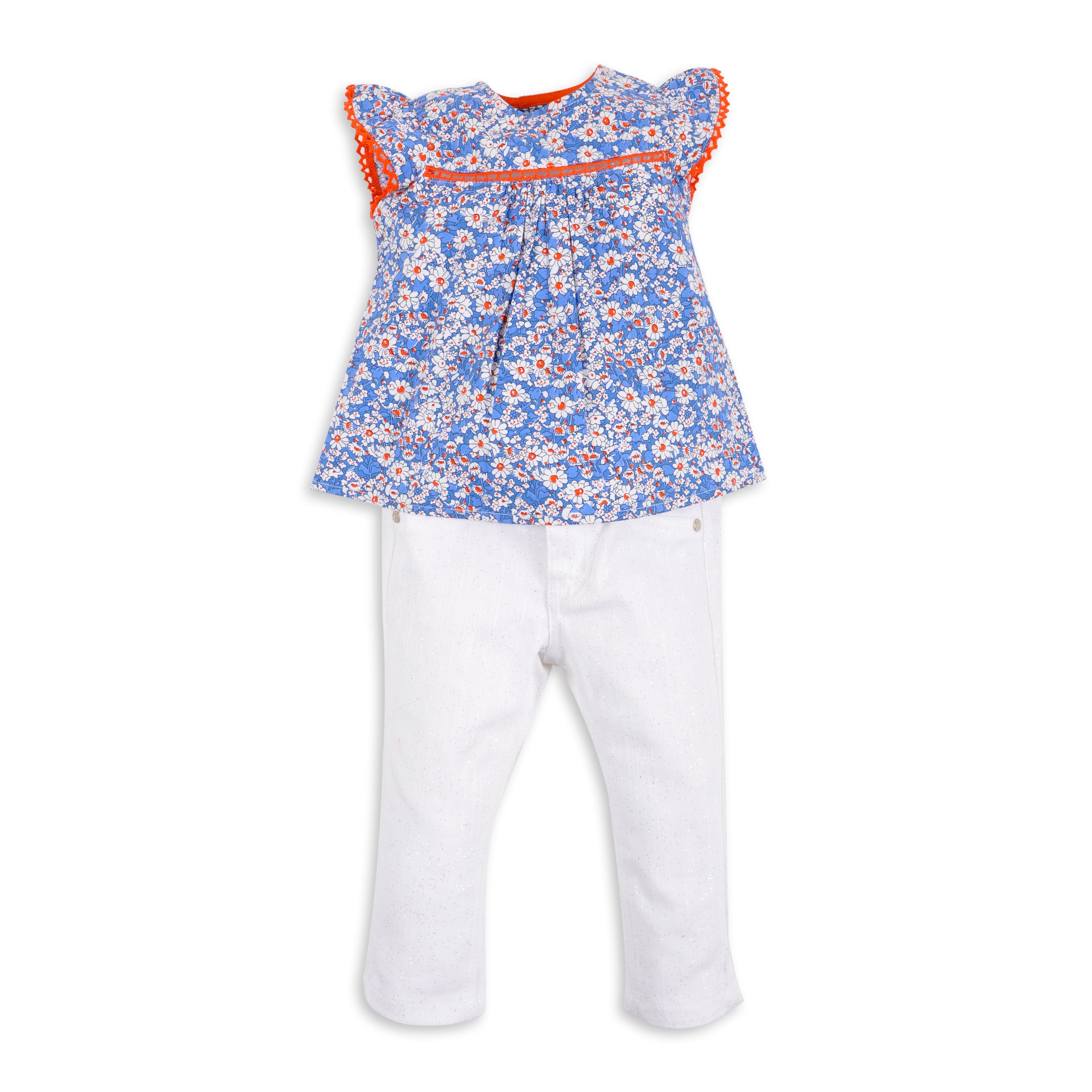 Blusa EPK para bebe niña de estampado floral en color azul con detalles anaranjado.