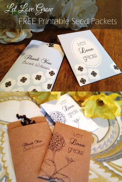 Let Love Grow Free Printable Seed Packet Wedding Party Favors