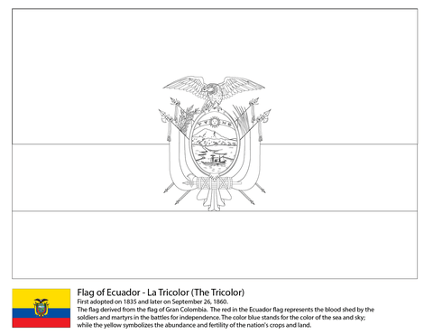 Ecuador Flag Coloring Page From South American Flags Category