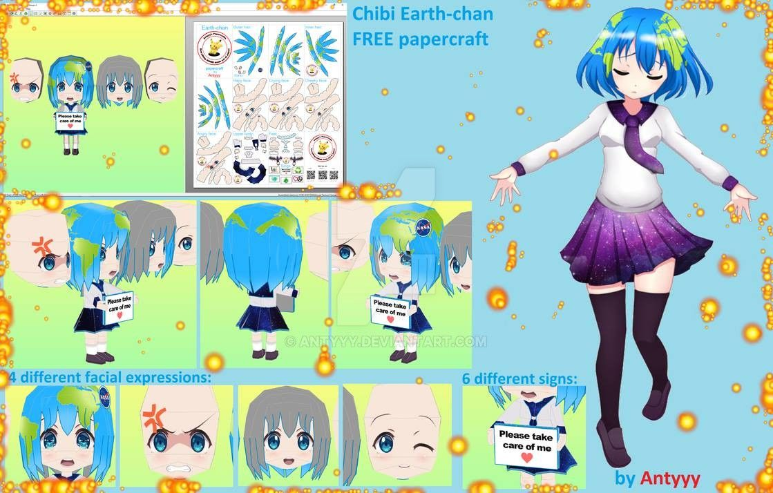 Earthchan (Earth chibi) FREE papercraft download by https