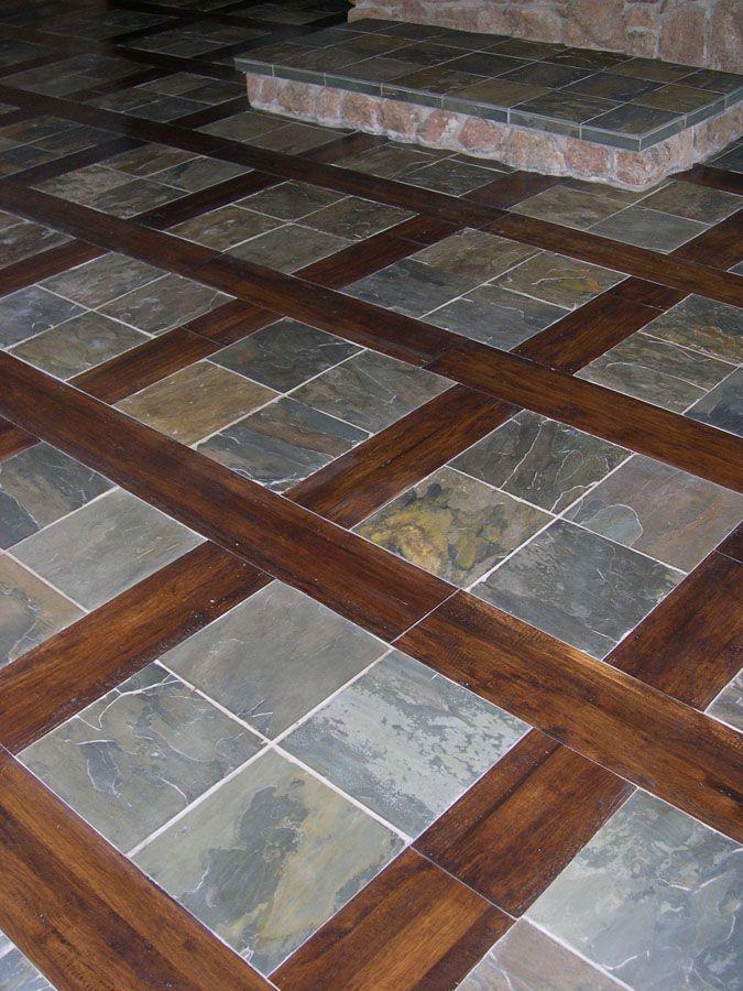 Slate Next To Hardwood Floors Affordable Flooring