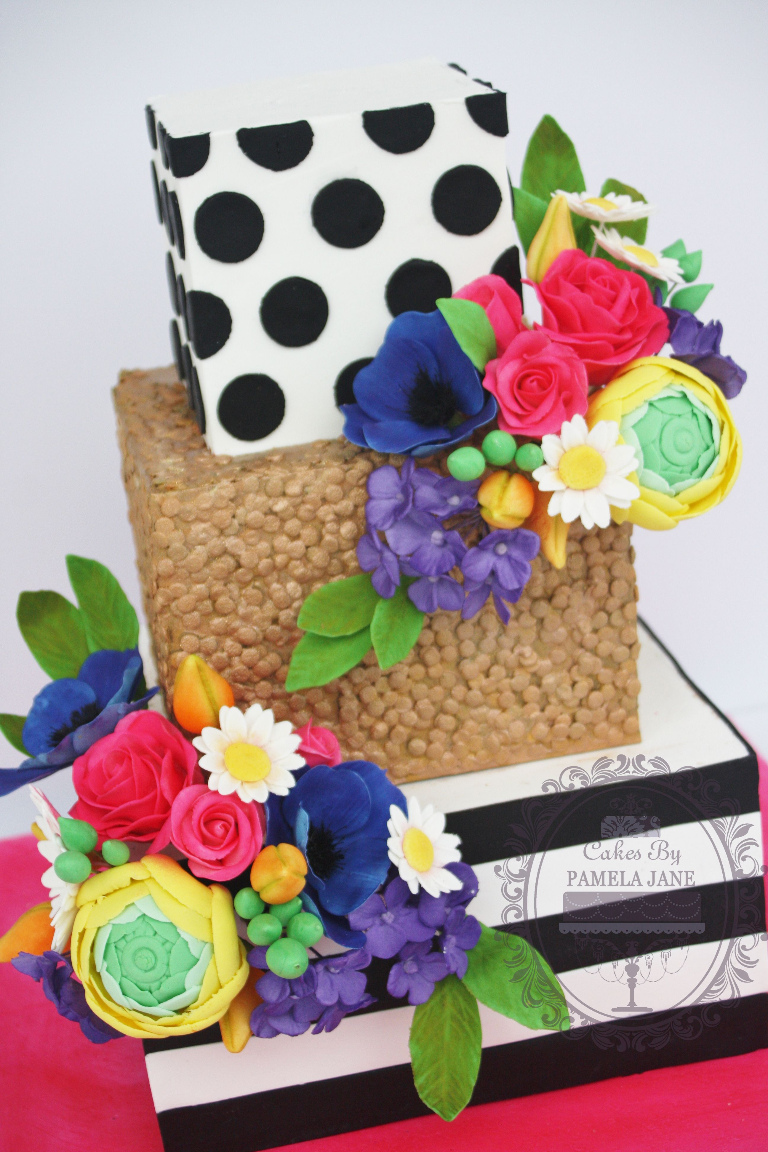 Bright Rainbow Colored Gumpaste Flowers Adorn This Black And White