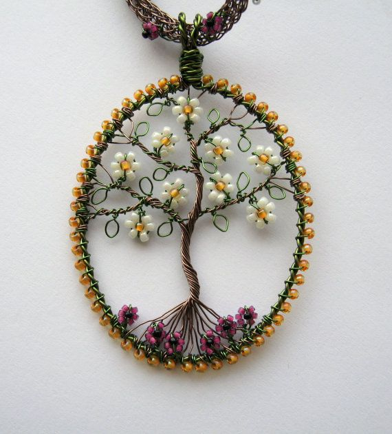 Magnolia Tree wire wrapped and beaded pendant with embellished ...