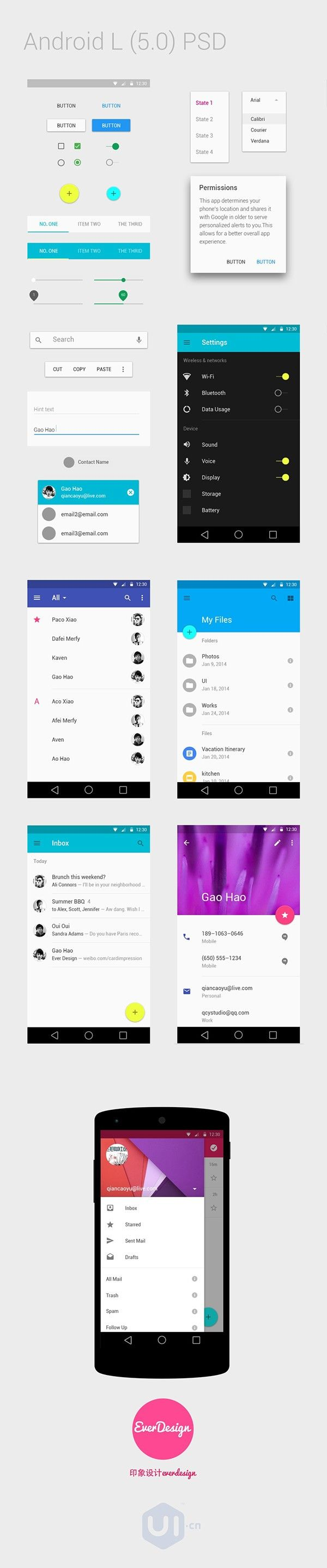 Useful Free Android L OS UI Kits and Elements