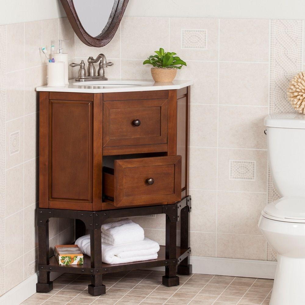 Harper Blvd Carmen Marble Top Corner Bath Vanity Sink   Overstock ...