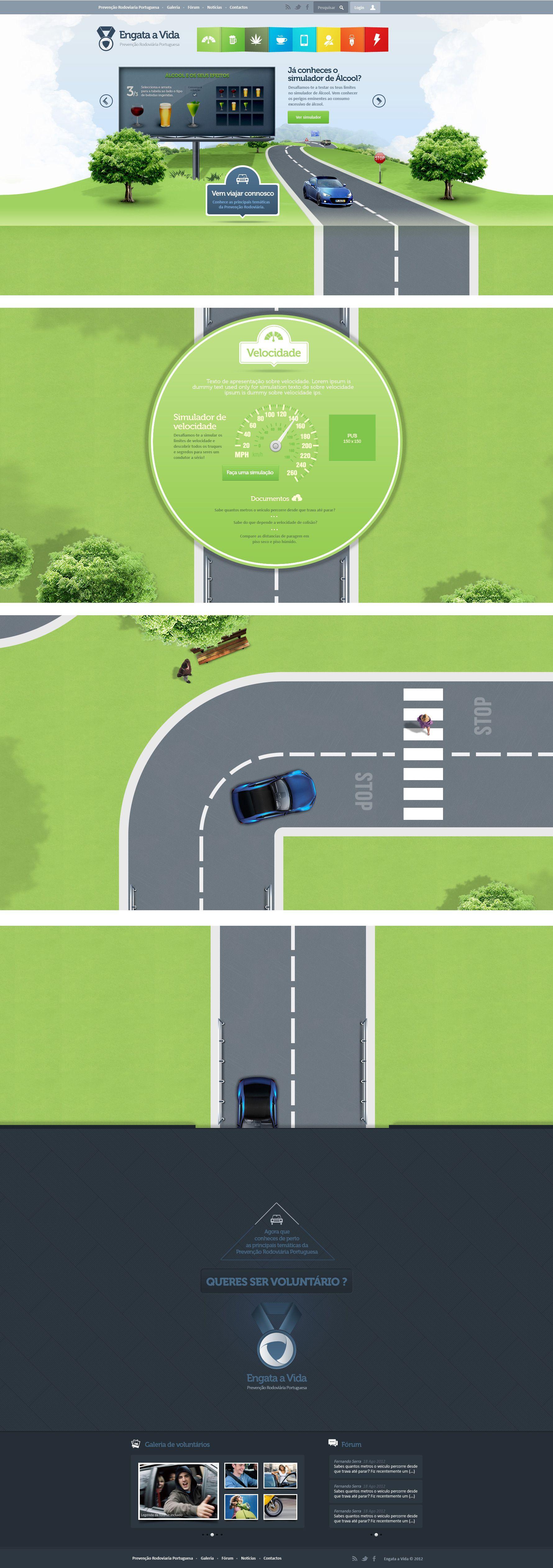 Prevenção Rodoviária Portuguesa.  full vertical website ux ui road cars security web 2012-09