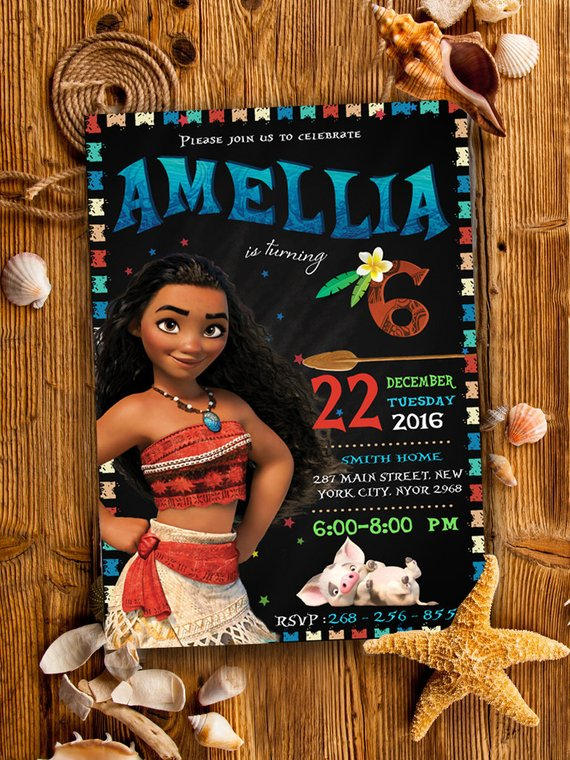 Moana Invitation Party Birthday Disney Printables Cust