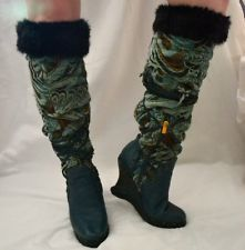 RUNWAY Beyonce` Knowles' House Of Deréon Tapestry Boots With Fur Shoe Size: 7.5 $24.95
