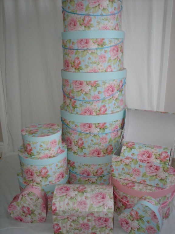 Stacks of hat boxes.
