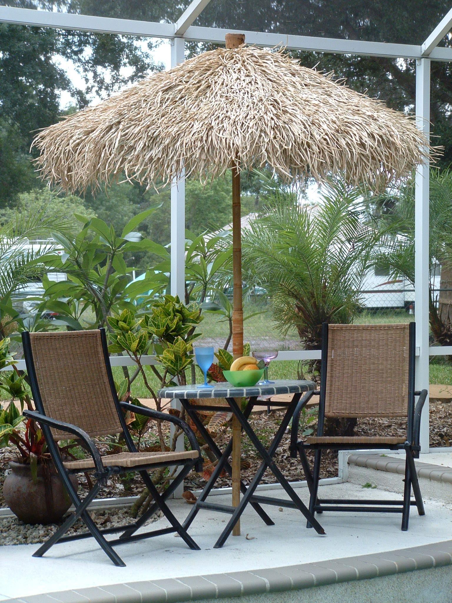 Bamboo Pole With Wide Enough Diameter To Fit Umbrella Pole In.. And Replace  The Faded Primary Colored Fabric Of Umbrella With Thatch.. Could It Be That  ...