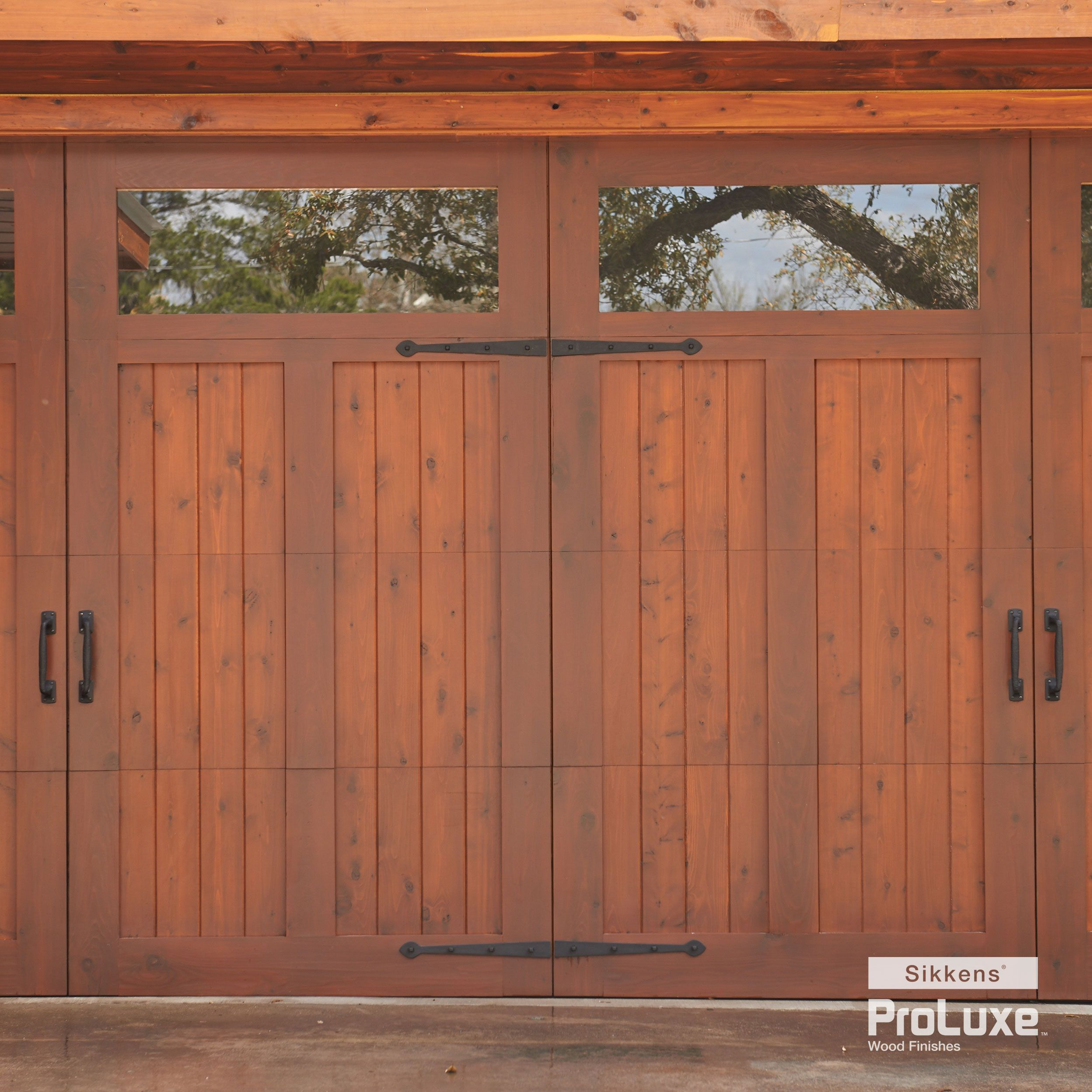 Garage Door And Siding Featuring Sikkens Proluxe Cetol Srd In Redwood