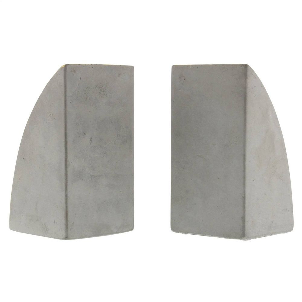 Homart Geometric Cement Bookends Arch Set Of 2 Domino