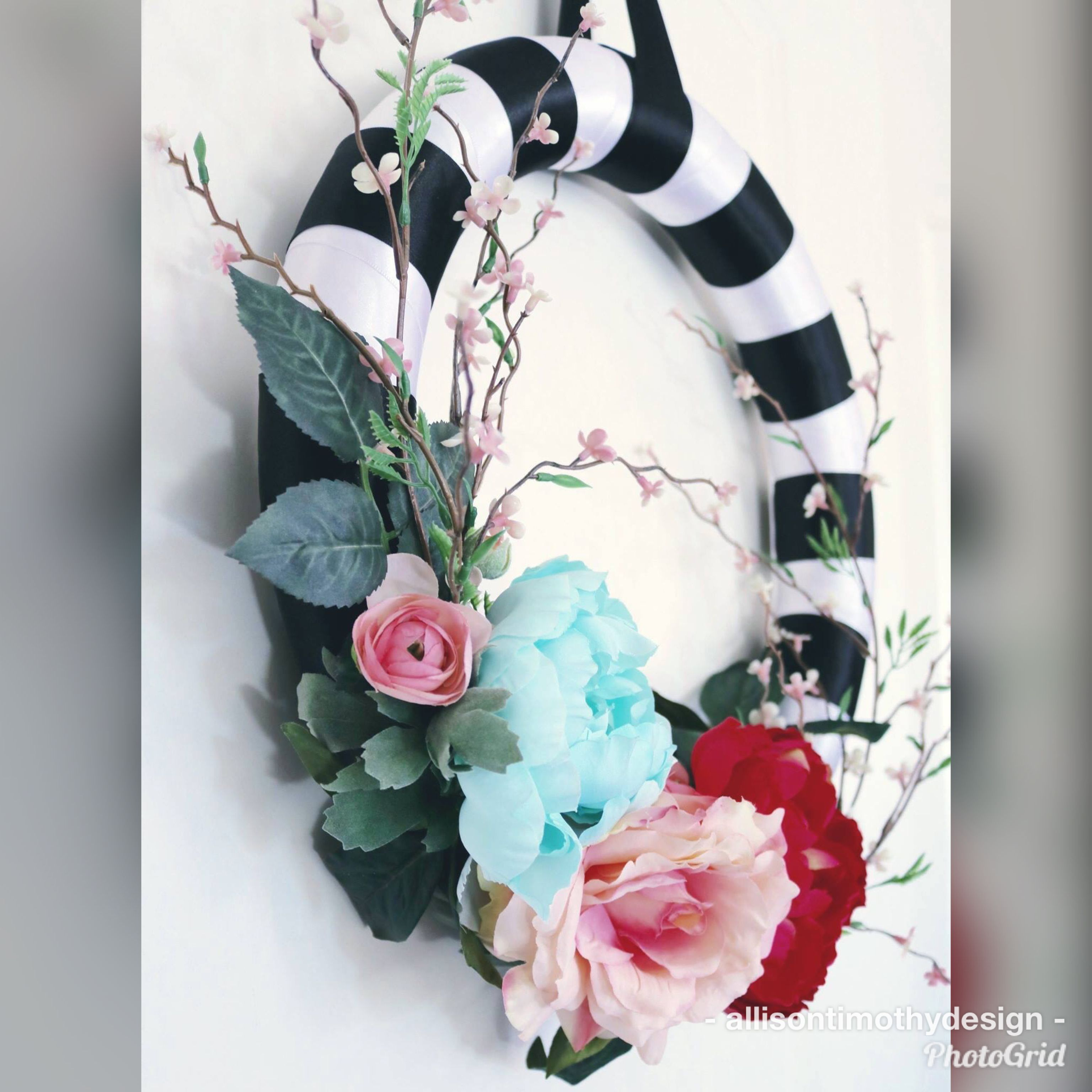 Black And White Striped Floral Wreath Pink Floral On Black Wreath