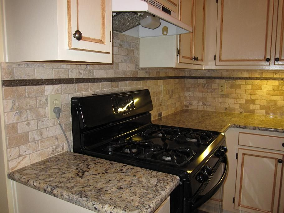 Delightful Kitchen Stone Backsplash Ideas Part - 14: Simple Kitchen Design With Natural Tumbled Stone Subway Tile Backsplash,  Black Stove Cabinet Appliance,
