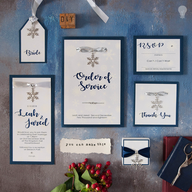 Make your own winter theme wedding invitations and DIY wedding ...