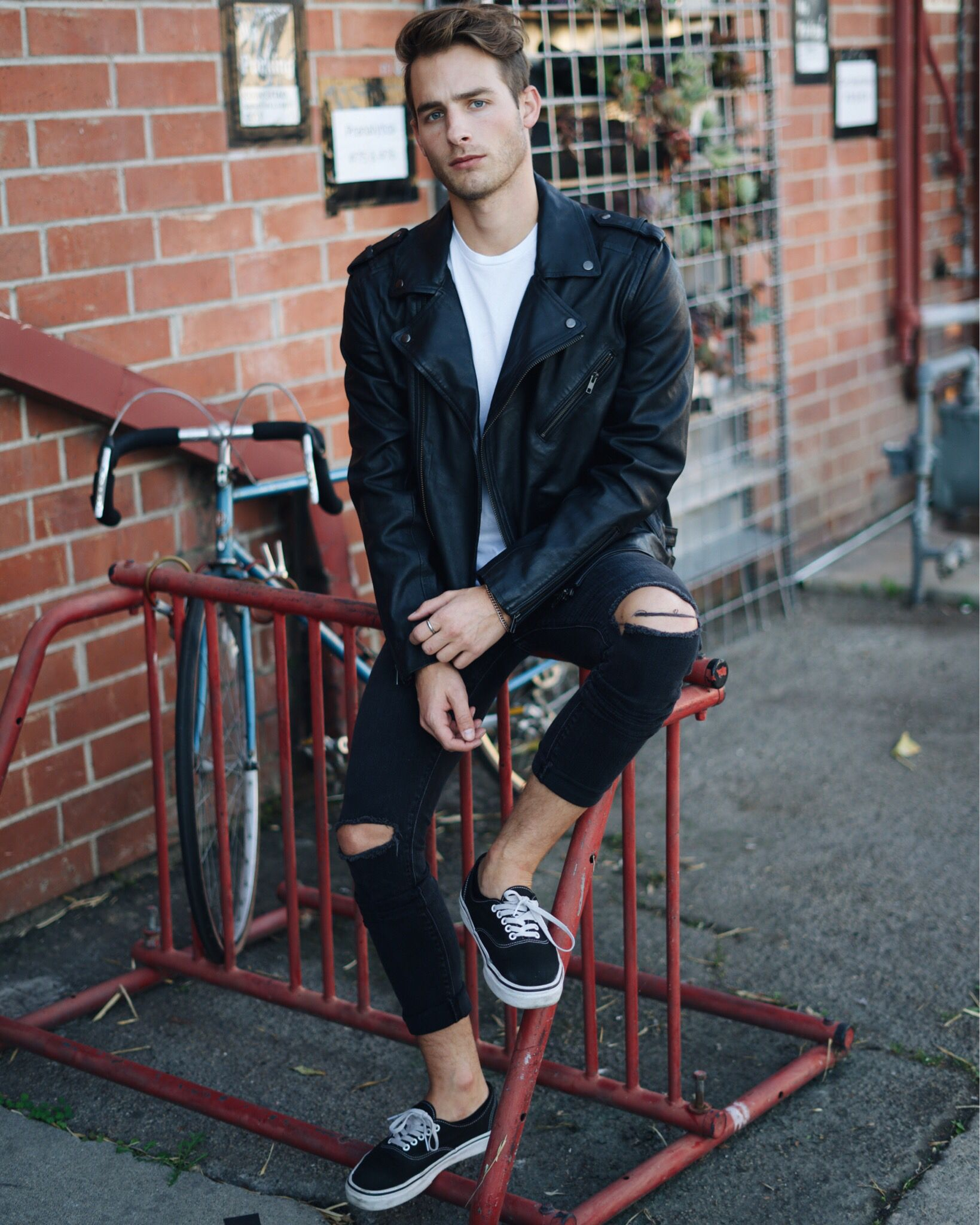 Denim Style Men Black Leather Jacket