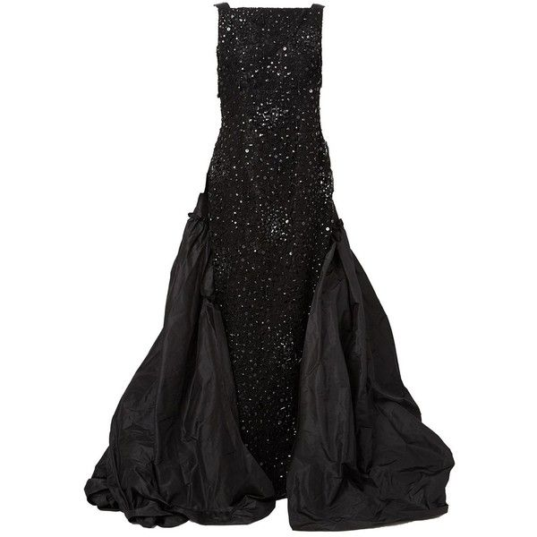 b2ca104d78b94 Oscar de la Renta Embellished Gown Dress ($14,924) ❤ liked on Polyvore  featuring dresses, gowns, long dresses, black, embellished dress, oscar de  la renta ...