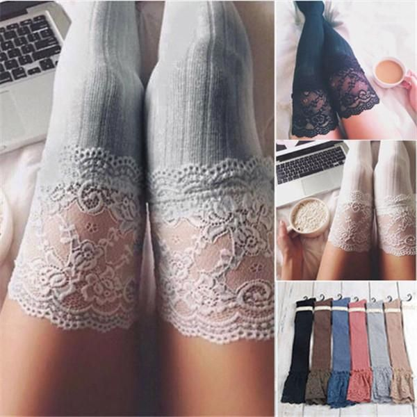 20d608089d4 Women Lace Sexy Cotton Thigh High Stocking Autumn Spring Socks – covchy