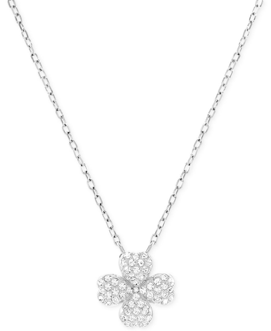 c0ece599a1bb98 Swarovski Rhodium-Plated Crystal Pave Four-Leaf Clover Pendant Necklace