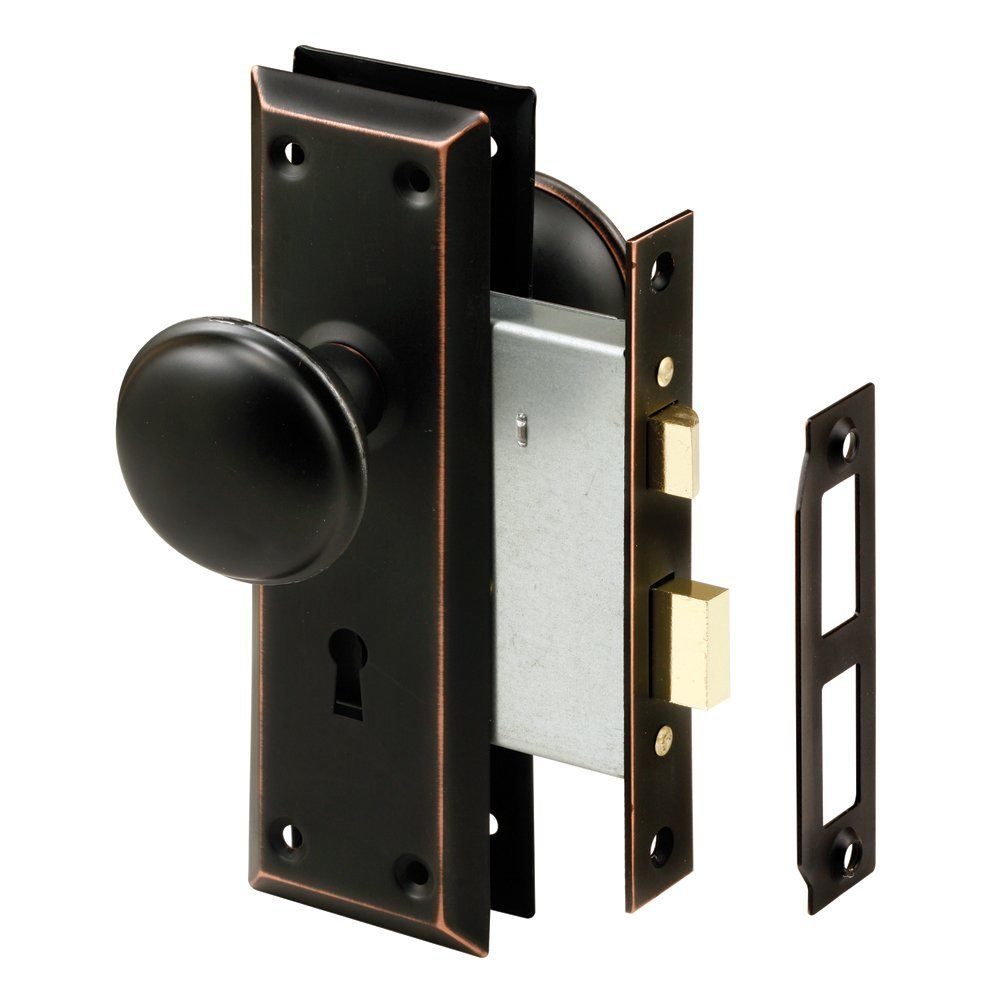 Prime-Line Products E2497Mortise Lock Set with Glass Knob Keyed Classic Bronze