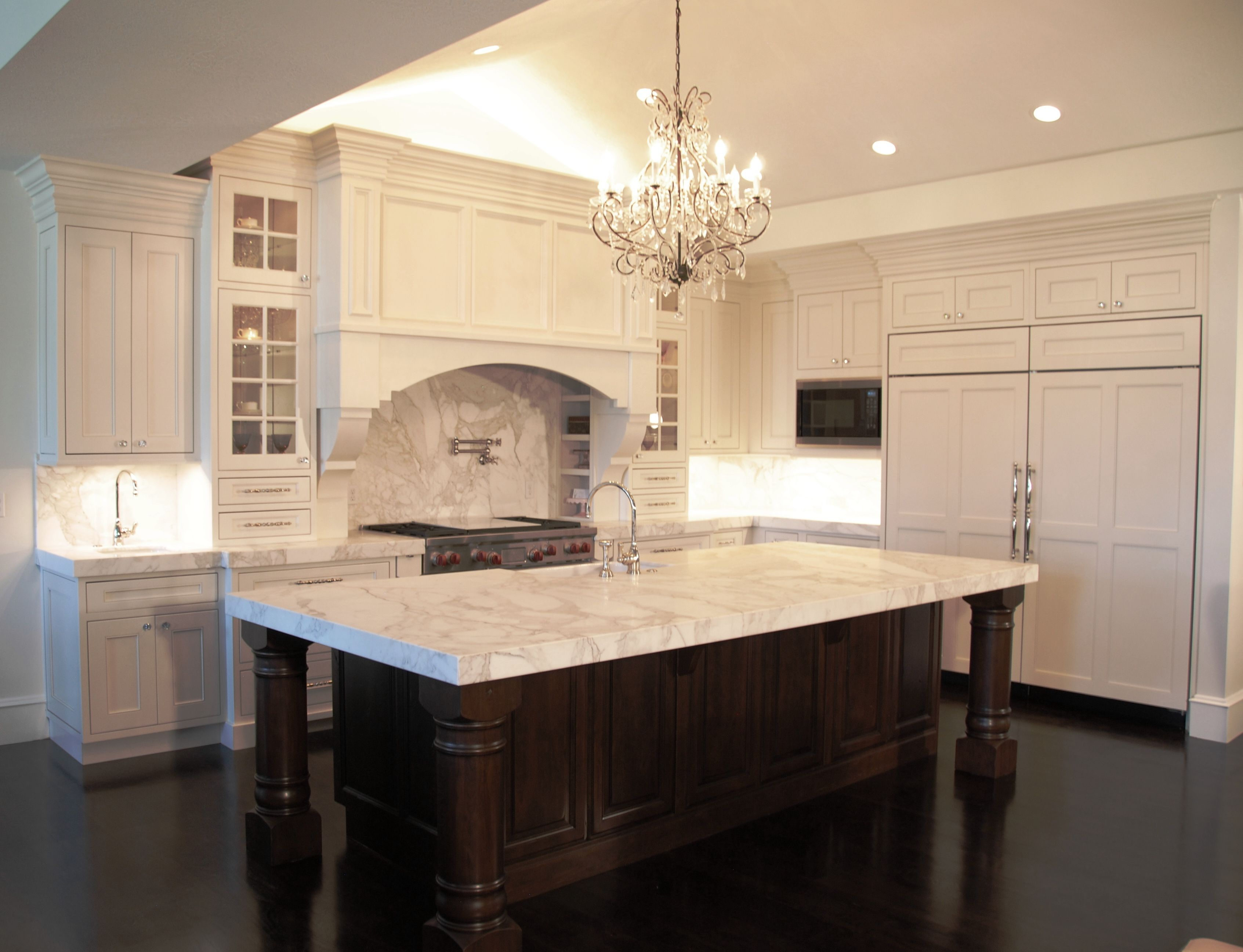 Kitchen Idea, Marvelous White Kitchen Design With Elegant Chandelier, Brown  Wooden Kitchen Island With White Granite Countertops And Cool Wh.
