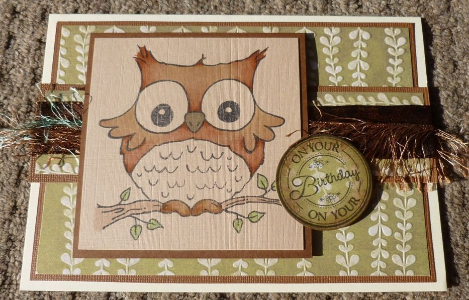 woodware stamped handmade birthday card  owl  stamped
