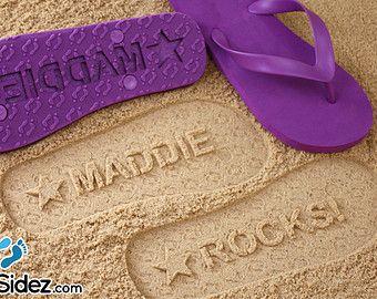9aa11de12fa68 Custom Name Flip Flops - Personalized Sand Imprint Sandals *check ...