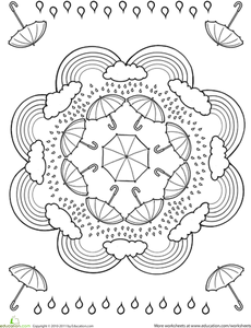 Rainy Day Worksheet Education Com Mandala Coloring Pages Mandala Coloring Coloring Pages