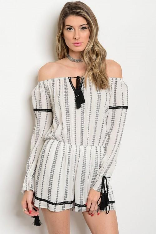 700964f3a568 Off Shoulder Tie Up Front Long Sleeve Striped Romper