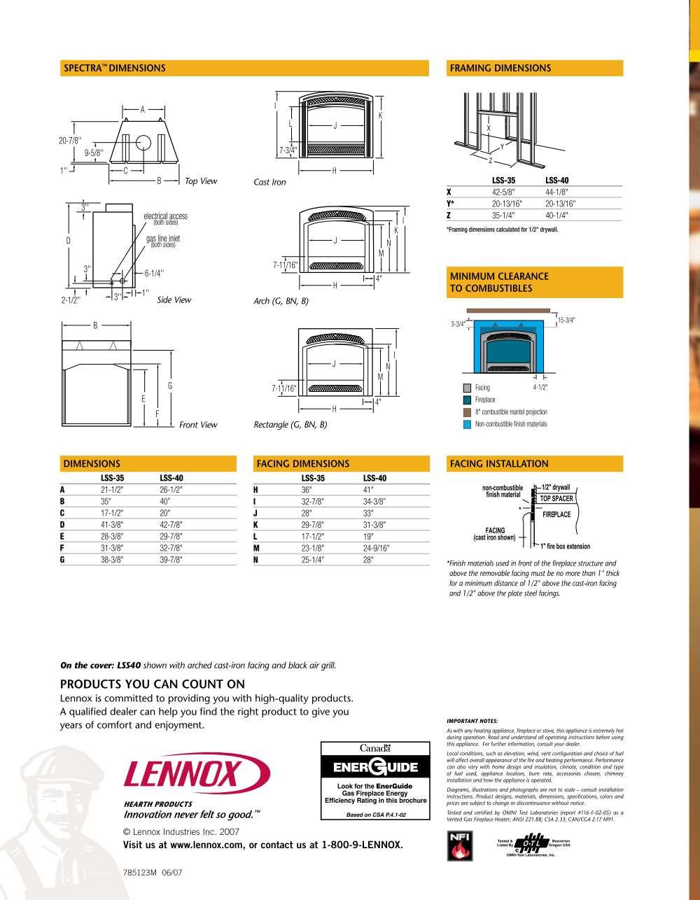 Building Instructions Of Direct Vent Gas Fireplace Lennox Hearth
