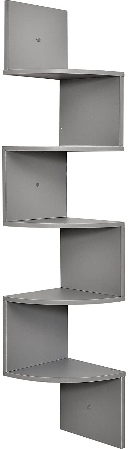 5 tier wall mount corner shelves Made of durable MDF laminate.Beautiful Gray finish that suits almost any decor.Easy to mount with all necessary hardware Included  #NewHomes #mandalabookcase #decorideas