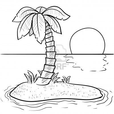 14559457 Doodle Style Tropical Or Deserted Island With Palm Tree