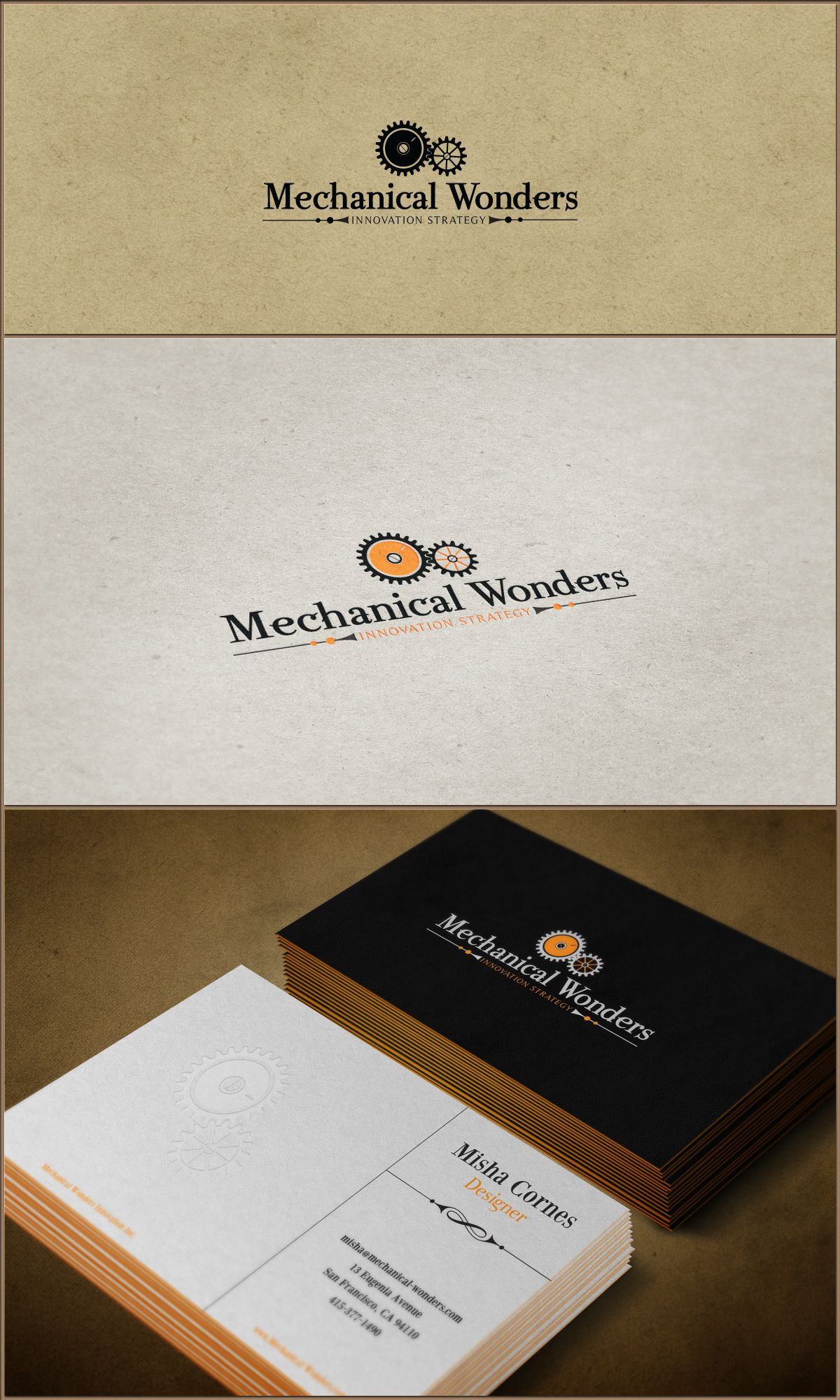 Mechanical Wonders Logo Business Card By Andrei Cosma I Like The Blank Space For Notes Business Card Logo Design Name Card Design Business Card Design