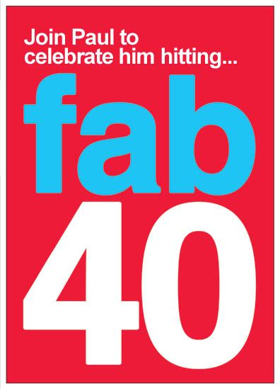 Fab forty fun personalised 40th birthday party invitations forty fab forty fun personalised 40th birthday party invitations filmwisefo