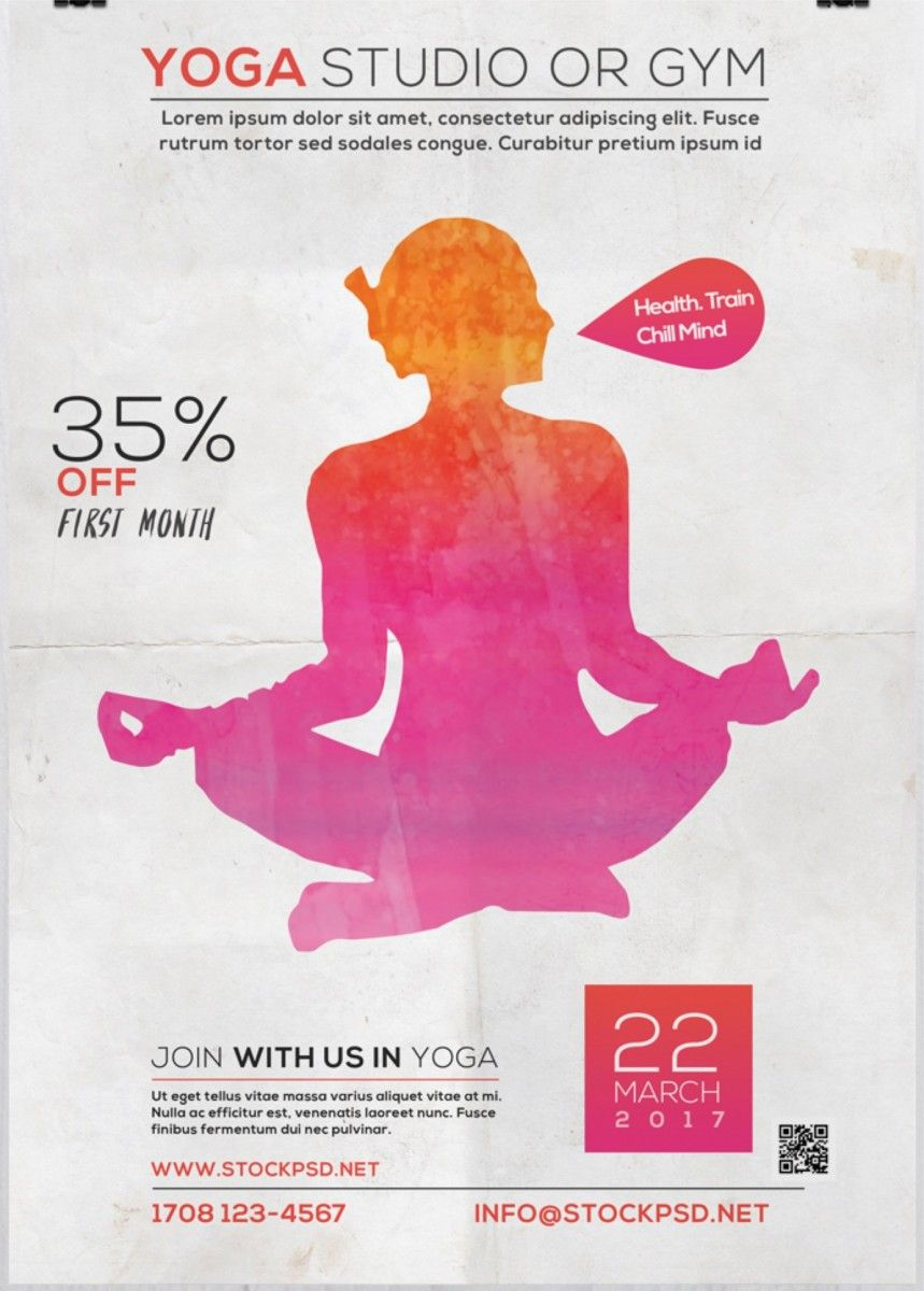 Yoga Studio Free PSD Flyer Template | Free Flyer Template | Pinterest