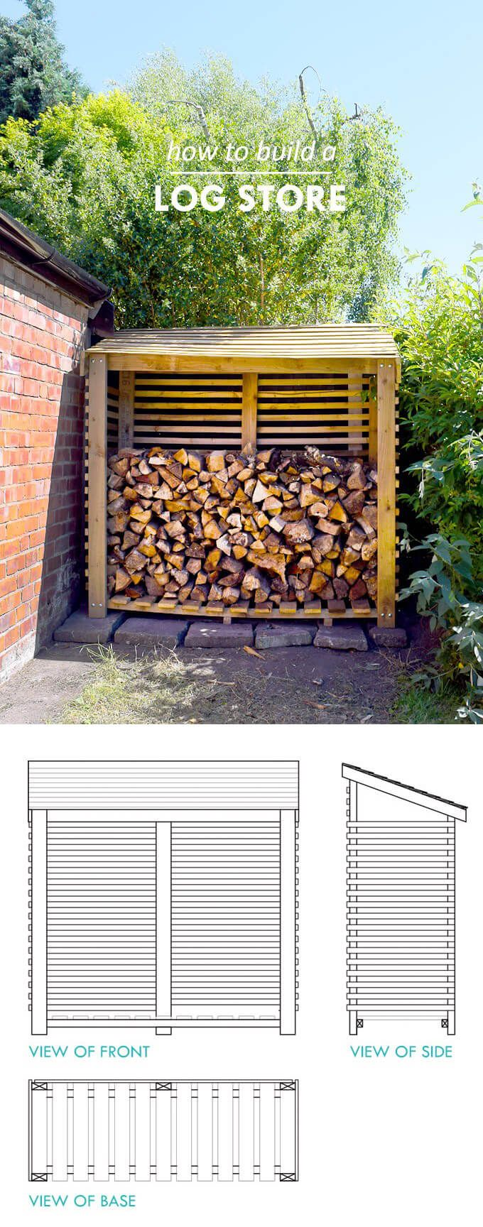 15 simple diy outdoor firewood rack ideas to keep your wood dry shed pinterest outdoor for Name something you keep in a garden shed