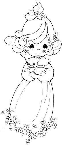 girl with a kitten coloring pages precious moments