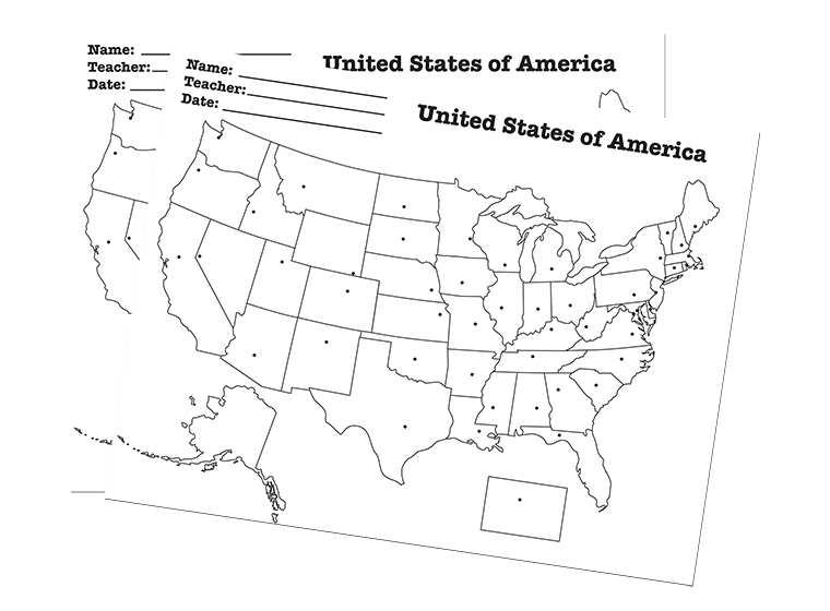 Maps - State Capitals USA Worksheet - A blank map of the USA with ...